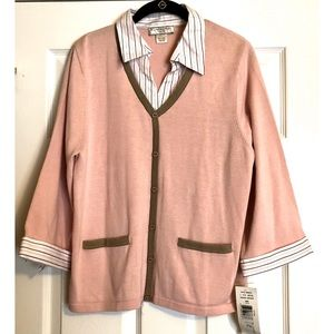 Allison Daley Petite Sweater with Collar & Cuffs